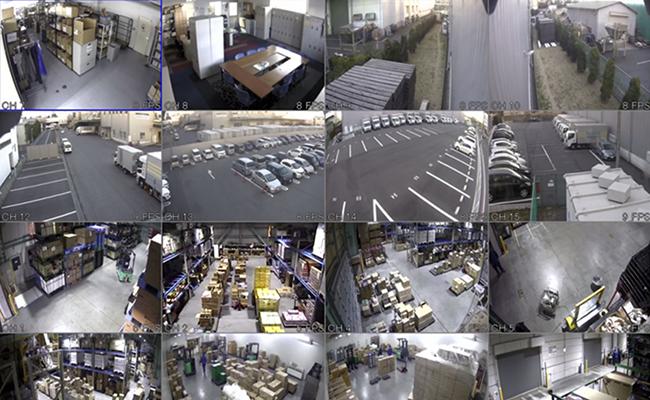 全倉庫に監視カメラ